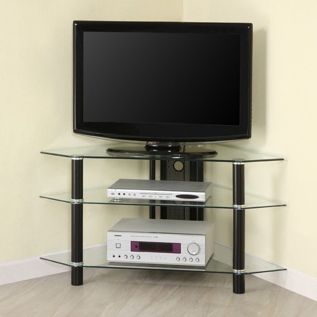 Glass Metal 44-inch Corner TV Stand contemporary-entertainment-centers ...