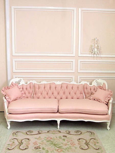 pretty tufted pink sofa vintage shabby chic french white. Black Bedroom Furniture Sets. Home Design Ideas