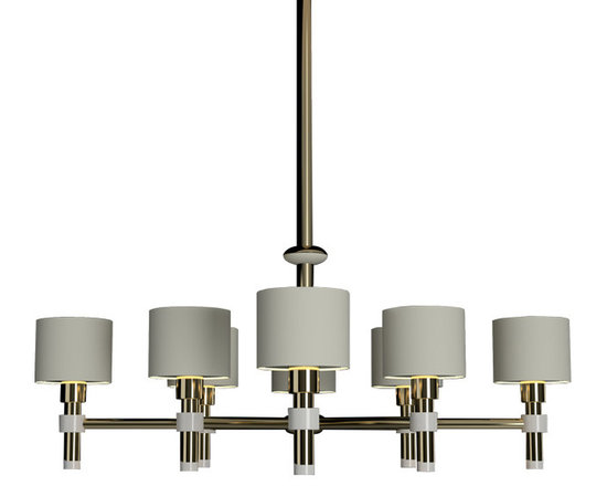 CreativeMary - Salamanca Suspension - Salamanca Chandelier features White fabric shades with a Brass finish. Eight 40 watt, 120 volt A19 type Medium base incandescent bulbs are required, but not included. 43.3 inch width x 44.5 inch height.