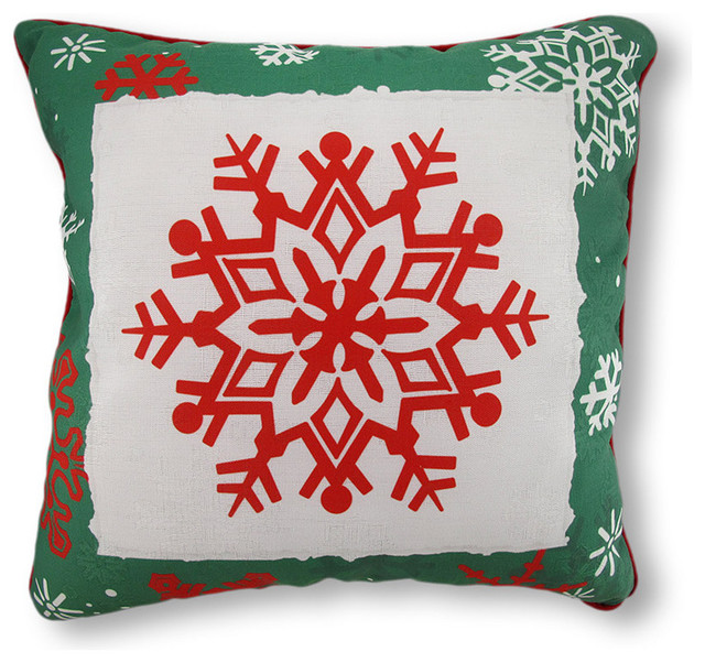 Reversible Winter Crisp Red and Green Snowflakes Pillow 18 in. contemporary-christmas-decorations