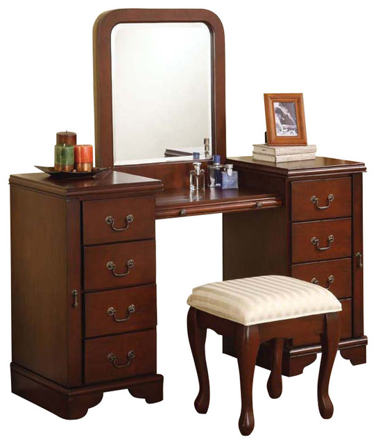 Cherry louis philipe 3 pc make up table bench mirror 8 for Bedroom vanity with drawers