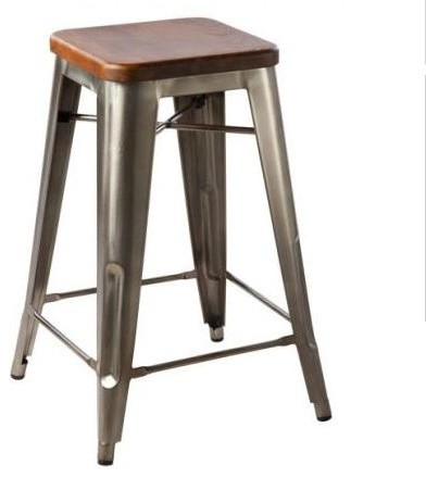 Hooligan Counter Stool Steel Rustic Wood Industrial