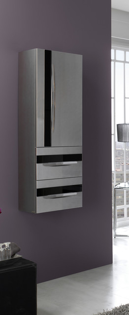 Macral Giocco 15 and 3/4 inches. Wall-mounted cabinet. Silver-black. modern-bathroom-cabinets-and-shelves