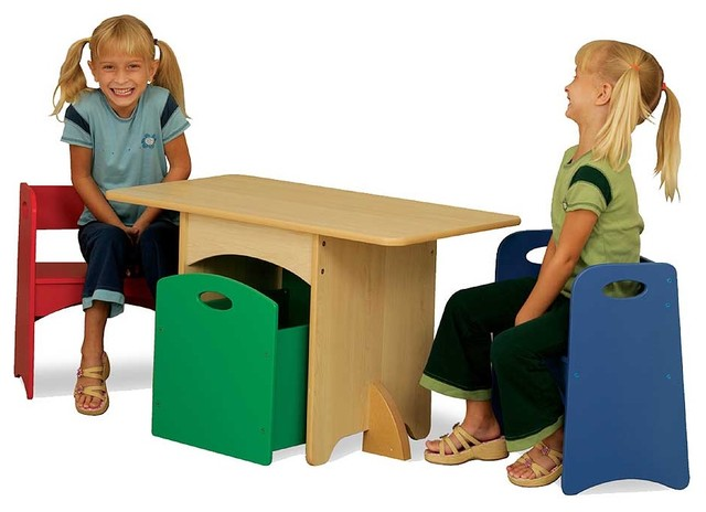 modern kids tables Table With Primary Benches by Kidkraft