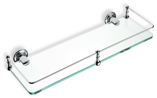 Clear Glass Bathroom Shelf Chrome Contemporary Bathroom Cabinets And Shelves By Thebathoutlet
