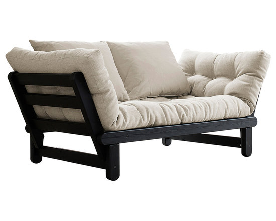 Fresh Futon - Beat Convertible Futon Sofa/Bed, Black Frame, Natural Mattress - Just listen to the Beat, it will have you comfortably relaxed with two pillows onits durable Nordic Pine frame in one of its three positions, loveseat sofa, mattress, or chaise lounge/daybed. Available in white, black, and natural frames with 9 twill fabric color options.