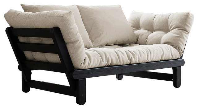 Beat Convertible Futon Sofa Bed Black Frame Natural