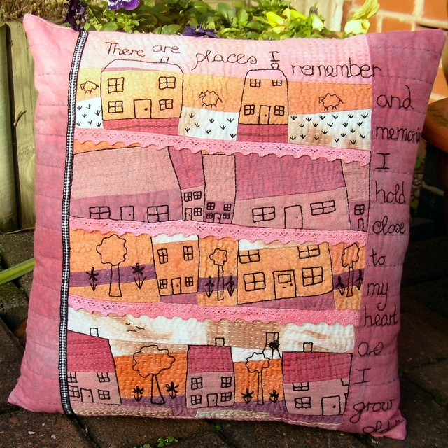 Hand Embroidered Art Pillow. Our House modern-decorative-pillows