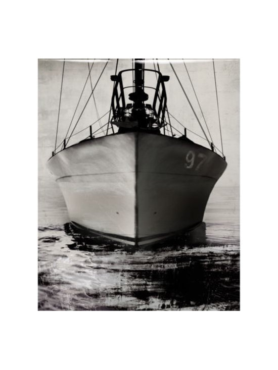 Z Gallerie - Onward - Glass Coat - The ship has set sail and the crew is en route to their destination. The ships grey, calm black water and the weathered background was created by artist Samantha Carlisle and is her vision of the calm before the storm. Onward features a high resolution image printed directly on canvas with an epoxy, glass coat finish. The epoxy, resin based finish that is applied to the image is a multi-step process that is hand poured and renders a durable and protective polished glass coated finish. This creates a greater level of depth and dimension to the piece. The finish also serves a sealer, which is moisture resistant, protects for warping or sagging, and ensures the lasting original beauty of the artwork. Special Orders  You will have 3 days from the transaction date to change or cancel your special order purchase. Special orders cannot be returned or exchange.