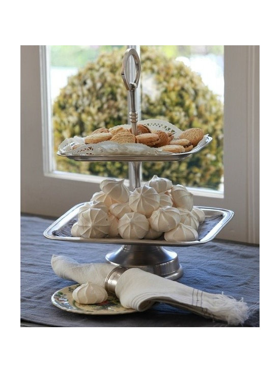 Pom Pom at Home Two Tier Tray - The Pom Pom at Home Collection is defined by its nod to vintage style, element of glamour, sophistication and high quality materials.