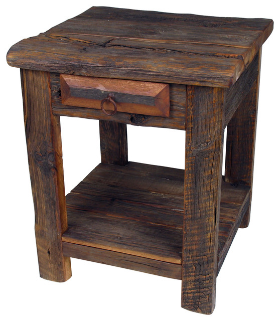 Rustic Old Wood End TableNight Stand Side