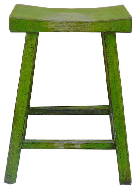 Chinese Green Lacquer U Shaped Bar Stool Eclectic Bar
