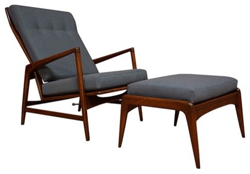 Danish Modern Recliner by Ib Kofod Larsen armchairs-and-accent-chairs