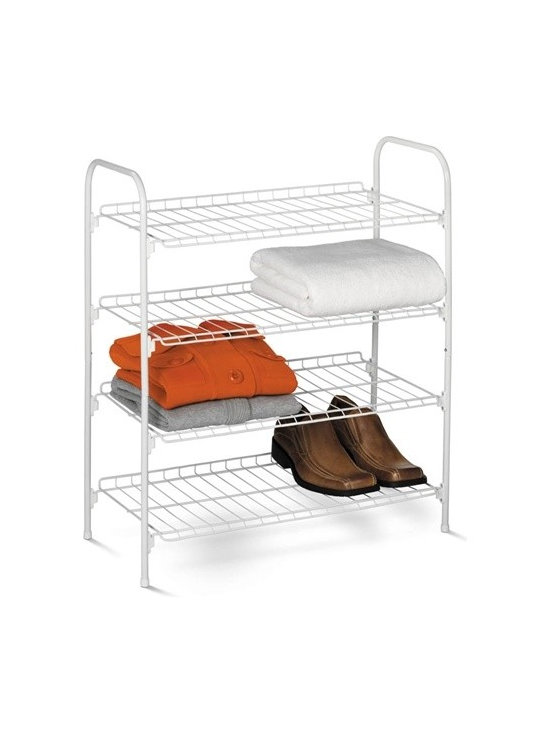 4-Tier Wire Shoe & Accessory Shelf/Closet Shelves, White - Honey-Can-Do SHO-01172 4-Tier Closet Storage Shelf, White.  Versatile coated steel shelving unit provides fours levels of easily accessible storage space with a simple design. Sturdy wire shelves are perfect for sweaters, shoes, bags, or anything you'd like to keep organized and visible. Slightly elevated shelf back keeps items in their place. Perfect for the laundry room, bedroom closet, garage, or mudroom.