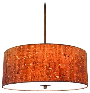 Cork Drum Pendant Light In Bronze