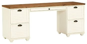 Whitney Rectangular Desk Set, 1 Desktop & 2 2-Drawer File, Almond White with Hon traditional-desk-accessories