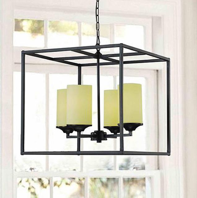 Matte Black 4-light Pillar Chandelier contemporary-chandeliers