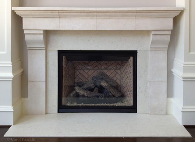 French Limestone Fireplace Mantel Traditional