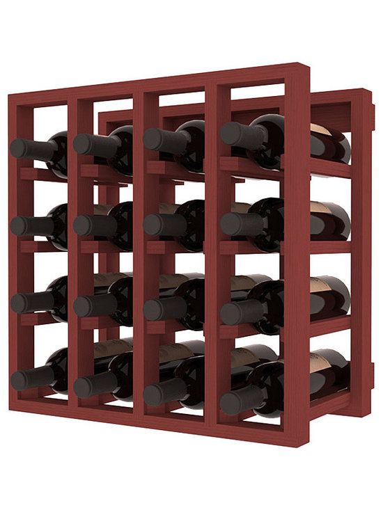 Lattice Stacking Wine Cubicle in Pine with Cherry Stain - Designed to stack one on top of the other for space-saving wine storage our stacking cubes are ideal for an expanding collection. Use as a stand alone rack in your kitchen or living space or pair with the 20 Bottle X-Cube Wine Rack and/or the Stemware Rack Cube for flexible storage.