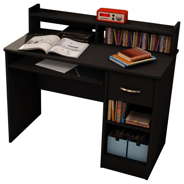 South Shore Axess Small Wood Computer Desk with Hutch in Pure Black transitional-desks