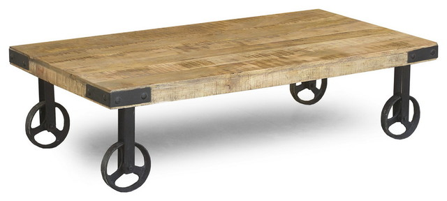INDUSTRIAL CART WHEELS COFFEE TABLE Eclectic Coffee Tables San