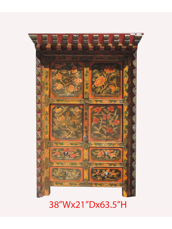 Tibetan Antique Flower Hand Paint Carving Storage Cabinet - This is a Tibetan antique cabinet which is made of solid elm wood. The front of the cabinet has very detail flower painting on it . Especailly, the front frame has carving around. Right now, You can use as storage cabinet.