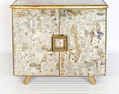 Worlds Away Reverse Antique Mirror Gold Leaf Chest contemporary-dressers