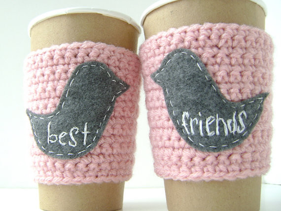 Personalized Coffee Cup Cozy, Best Friends by The Cozy Project modern accessories and decor