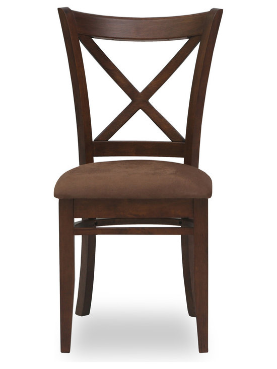 Bryght - Celia Brown Fabric Upholstered Cocoa Dining Chair - The Celia dining chair showcases a timeless and classic vintage design. Simple yet graceful, the Celia dining chair is well suited for all occasions, with its ergonomic solid wood cross back design and a cozy padded seat in microfiber.