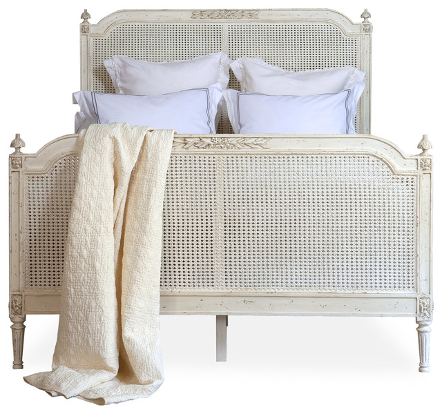Blanka french country white washed elegant caned queen bed for French farmhouse bed