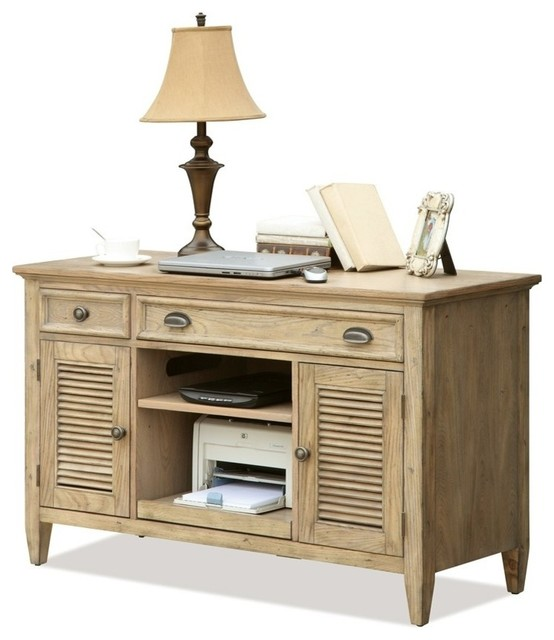 Coventry Credenza Desk (Weathered Driftwood and Dover White) contemporary-desks-and-hutches