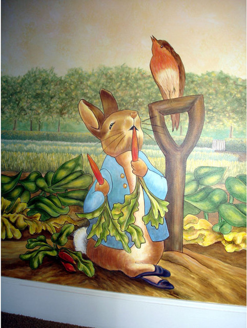 Peter rabbit mural inspired by beatrix potter for Beatrix potter mural wallpaper