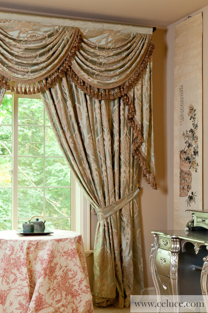 Valance curtains with swags and tails by celuce com traditional living - Valance Curtains With Swags And Tails By Celuce Com