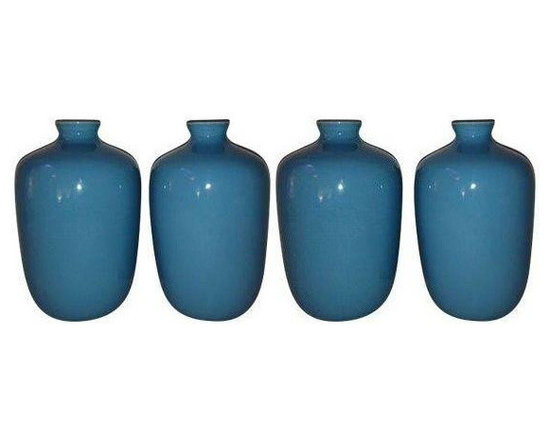 Turquoise Porcelain Vases by Middle Kingdom - Dimensions 4.5ʺW × 4.5ʺD × 7.0ʺH