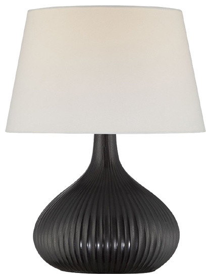 Table Lamp - Ceramic Body/Off-White Fabric Shade traditional-table-lamps