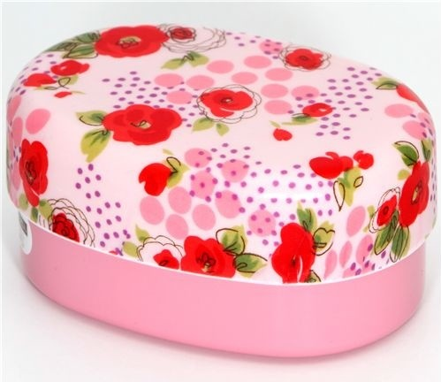 beautiful pink roses bento box lacquer lunch box lunch boxes and totes. Black Bedroom Furniture Sets. Home Design Ideas