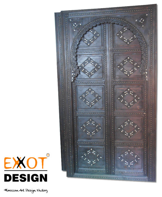 Moroccan handmade wooden and bone door mediterranean for Mediterranean interior doors