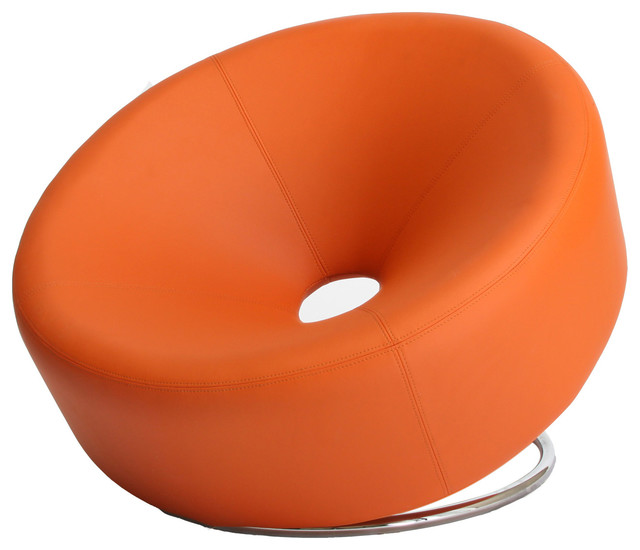 Modern chaise sofa - Nouvelle Design Leather Accent Chair Orange Modern
