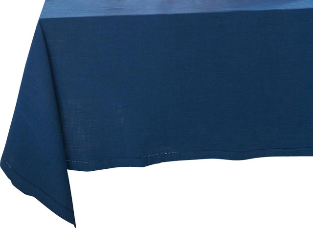 """Hemstitch Tablecloth, Navy, Rectangle, 70""""x108"""" traditional-tablecloths"""
