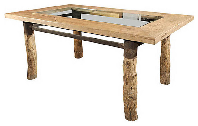 Burlwood Glasstop Dining Table Asian Dining Tables