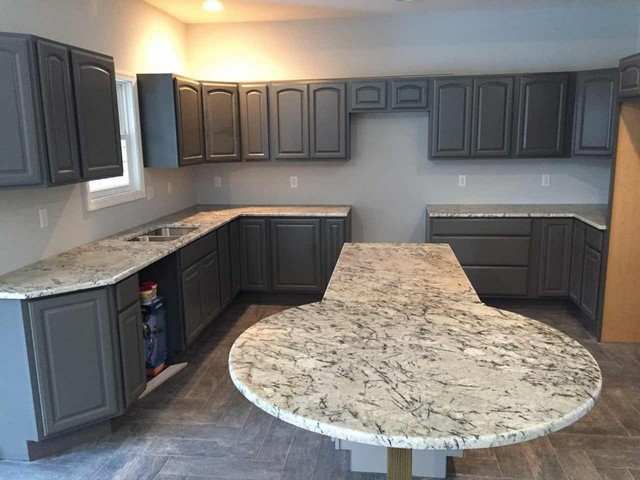 White Blue Ice Countertop with Gray Cabinet