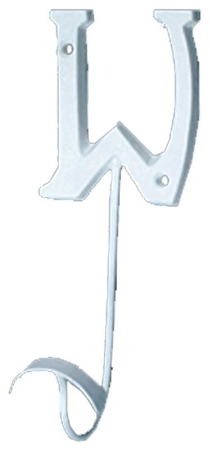 Hooks Wrought Iron Hook White Decorative Letter W rustic-hooks-and-hangers