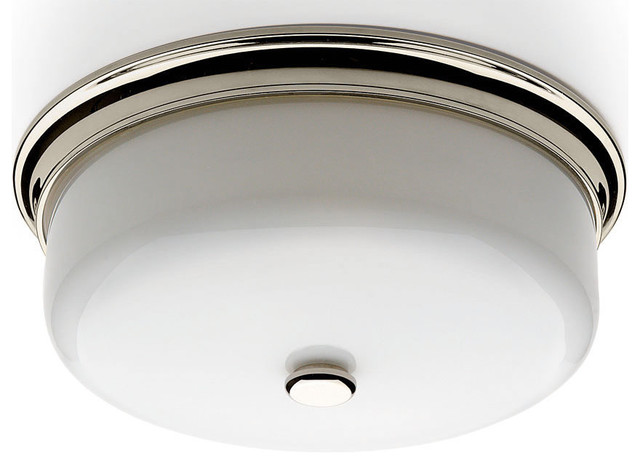 Waterworks Gibbs Round Ceiling Mounted Lighting with White Glass Shade traditional-flush-mount-ceiling-lighting