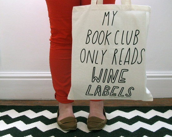 My Book Club Only Reads Wine Labels Tote -