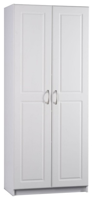 Ameriwood Contemporary Deluxe Double Door Pantry Cabinet in White - Modern - Pantry Cabinets ...