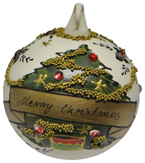 Peter priess christmas handpainted blown glass merry for Outdoor merry christmas ornaments
