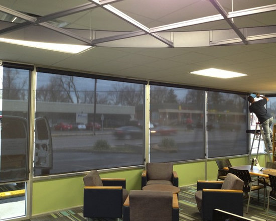 Commercial Window Treatments - Saint Louis - Saint Charles - Roller Shades - These large Commercial Library Windows were outfitted with Roller Shades in a 5% fabric manufactured by Alta. They have the ability to see out but no one can see in during the day time. Help diffuse the natural with Roller Shades!