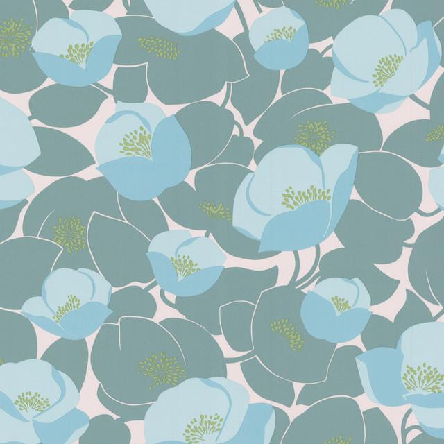 Amy Butler Wallpaper - Field Poppies - Ocean, Swatch contemporary-wallpaper