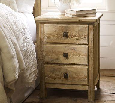 Mason Wood Bedside Table Wax Pine Finish Traditional