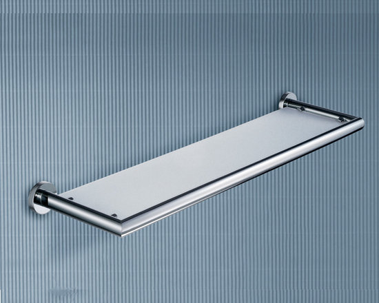 """Frosted Glass Wall Mount Bathroom Shelf - Enjoy high quality with this wall mounted bathroom shelf made of frosted glass and polished chrome brass. Shelf can hold a maximum capacity of 8.8 pounds. Dimensions: 24.8"""" x 6.1"""" x 1.8"""""""